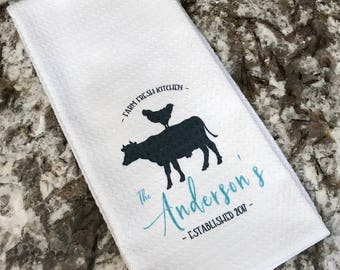 Personalized Kitchen Towels, Dish Towel, Tea, Towel,  Farm Kitchen Decor, Hand Towel, Hostess Gift, Housewarming Gift, Decorative Towel