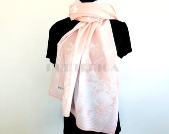 Light Pink and White Flowers and Butterflies Long Scarf