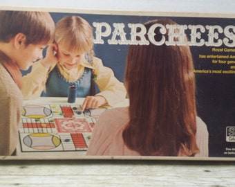 Parcheesi, 1975, vintage board game, missing one piece