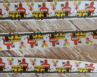 1 Yard of 1 Inch Little Red School House with  Bus Grosgrain Ribbon