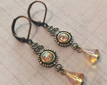 Light Topaz AB Crystal  Antiqued Brass Filigree Leverback Earrings