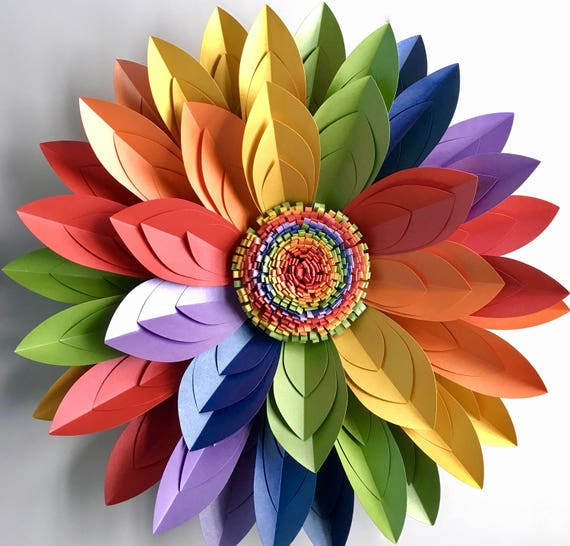 "40cm (16"") 3D Rainbow Paper Flower Wall Décor, Table Centrepiece, LGBT Rainbow"