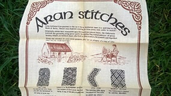 Aran Stitches Linen Dish Cloth Story Symbolism Book of Kells Daniel is wearing an Aran Jersey Irish Kitchen Towel Unused #sophieladydeparis