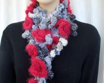 Scarf crocheted Garland handmade Ruby rose