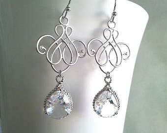 Royal Flower with Clear Crystal Chandelier Earrings - Clear Crystal Drop, Dangle earrings,Wdding Bridal Bridesmaid Jewelry Christmas Gift