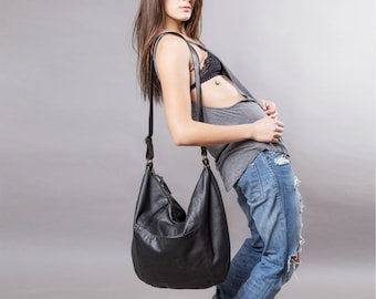 Black Leather bag - large leather purse SALE Hobo leather bag - leather tote bag - crossbody bag  - large leather bag