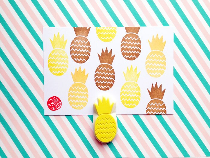 Pineapple Stamp Tropical Fruit Rubber Stamp Birthday Card