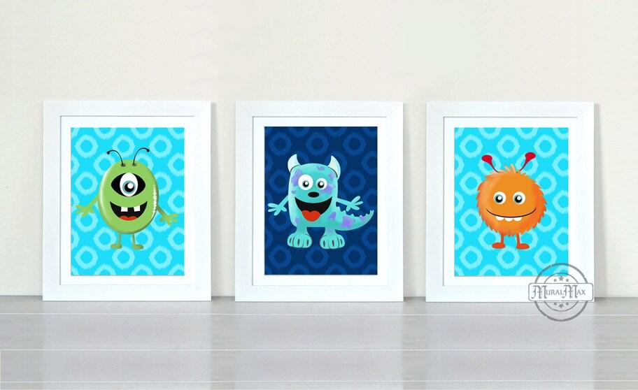 Monsters Boys Room Decor Nursery Decor Three Piece Wall