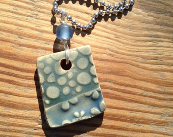 Blue bubbles textured ceramic pendant necklace with ball chain, stoneware pendant necklace