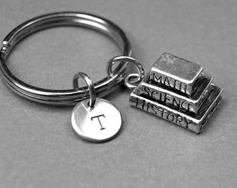 Stack of books keychain, books keychain, book charm, book gift, graduation gift, personalized keychain, initial keychain, initial charm