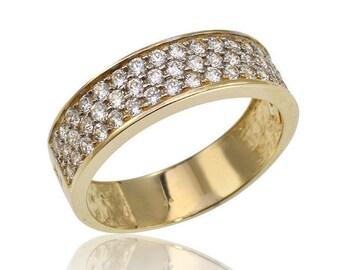 Wide Pave Diamond Band, Pave Diamond Ring, Engagement Ring, 3 Rows Diamond Ring, Pave Wedding Ring, Wedding Set, Fast Free Shipping