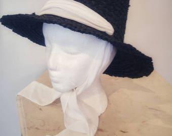 Vintage Black Woven Hat
