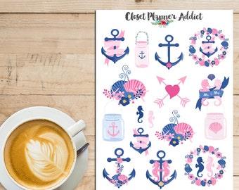 Nautical Love Wedding Planner Stickers   Love Stickers   Valentine's Day Stickers   Wedding Stickers   Nautical Stickers (S-217)