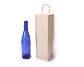 Holzkiste Wein, unvollendete Weinschachtel, Kiste mit Flaschen, verschiebbaren Deckel, Eco, unlackierten schlicht Holz Decoupage, Jubiläum, Hochzeitsgeschenk, Holzkiste