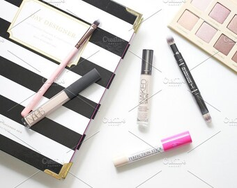 Styled Stock Photo | Makeup & Planner | Blog stock photo, stock image, stock photography, blog photography