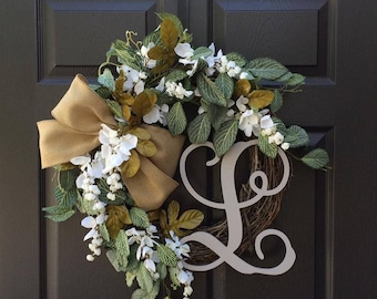 front monogram summer hydrangea more by pin simplysundayshop wreath door wreaths