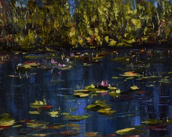 Pond Water Lilies. Original oil painting. Oil on canvas.
