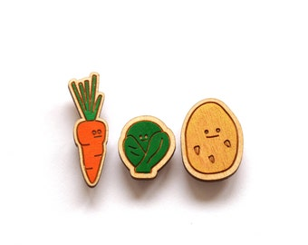 Vegetable Brooch Set, Handmade Brooch, Brooch Set, Vegetables, Laser Cut, Wooden Brooch, Handmade, Brooch, Gardening Gift, Vegetable