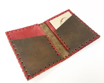 Card wallet in Nobuk leather handmade.