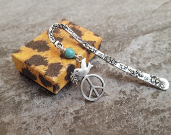 Peace Dove Turquoise Antiqued Silver Floral Bookmark