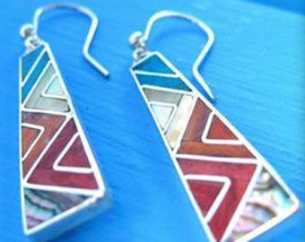 long dangle silver earrings from Peru inca jewelry earrings of the incas inlay jewelry peruvian earrings spiritual jewelry from Cusco peru