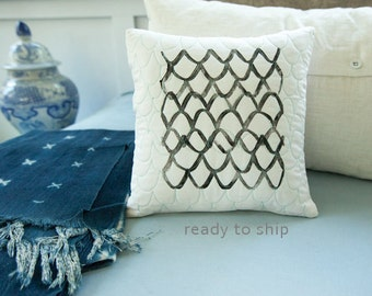Quilted and Handprinted Modern Pillow 12x12 Toss Pillow Neutral Decor Scallop Print Hostess Gift for Him or Her Gift Idea Under 50