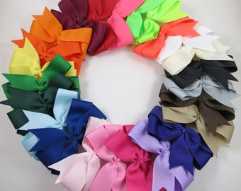 Hair Bow Set - School Bows - Pinwheel Hair Clip - Pink White Black Blue Green Yellow Purple Orange Red Brown Neon Bows - YOU PICK QUANTITY