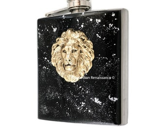 Safari Lions Head Flask Inlaid in Hand Painted Enamel Leo Zodiac Hip Flask Neo Victorian Inspired Custom Colors and Personalized Options