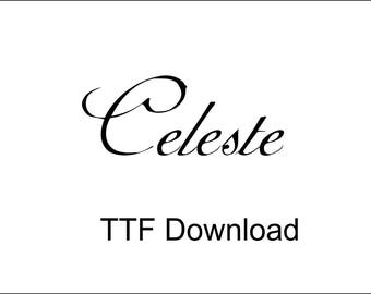 Celeste Digital Download TTF Font Curly Cricut