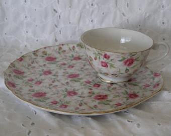 Vintage Snack Set ~ Cup Tea Plate Pink Roses Luncheon Tennis Breakfast