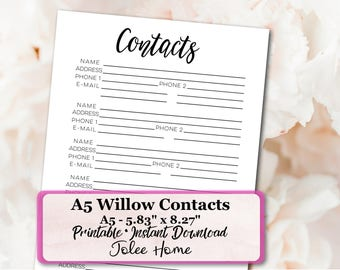 A5 Contacts Page, Contacts Page Inserts: Willow A5 Contacts Page Insert