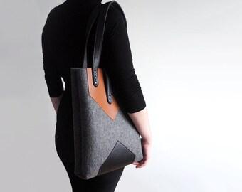 Dark Gray Black Brown Wool Felt Genuine Leather Tote Bag