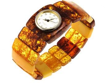 100% Natural Handmade Baltic Amber Watch on Adjustable Elastic String