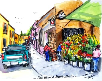 "ORIGINAL Ink and Watercolor painting 9""x12"" of San Miguel de Allende Street with Flower vendor."
