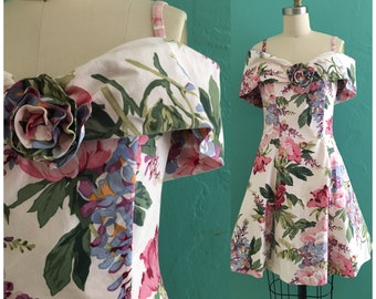 vintage 80's floral off the shoulder dress // full skirt spring dress