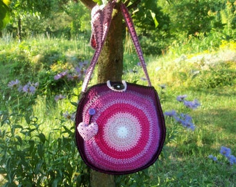 CROCHET PATTERN - crochet crossbody bag pattern - in love with pink and purple - crochet bag pattern PDF