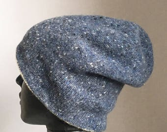 Knitted blue hat-double sided beanie hat-double-sided beanie hat-merino wool hat-knitted merino wool hat-original hat-knitted hat