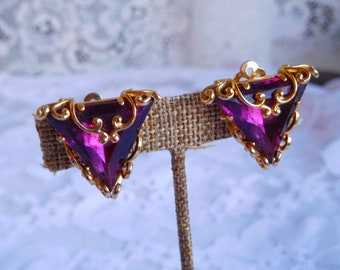 Vintage Clip Earrings with Faux Amethyst Stones Triangle Shape Gold Tone