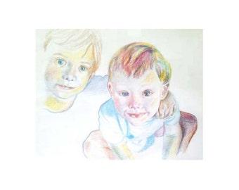 Aquarelle pencil drawing siblings