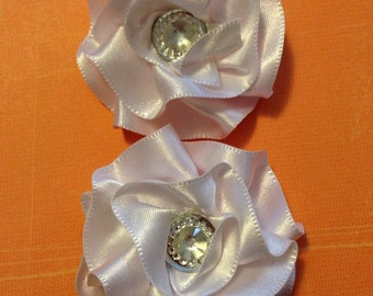 White Pair Small Flowers/ Hair Clips