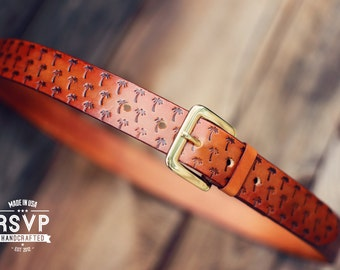 Custom Leather Belt, Handmade personalized gift, Tan stain, Palms tropical, full grain leather belt, Tooled Leather Belt, Men's Leather Belt