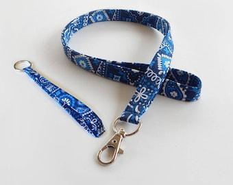 Bandanna Lanyard Set / Blue Bandana / Blue Keychain / Cute Lanyards / Bandanna / Teacher Lanyard / Fabric Lanyards / Badge Holder