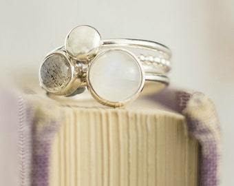 Moonstone Ring   Silver Stacking Ring   Labradorite Ring   Moonstone Stacking Ring   June Birthstone Ring   Stackable Mothers Ring   Mist