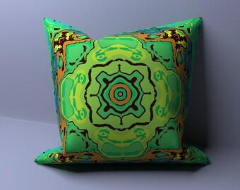 Green Pillow Cover - Modern Outdoor Pillows - Farmhouse Pillow Sham - Throw Pillow Cover - Custom Made Pillow - 16 x 16 Couch Pillow Cover