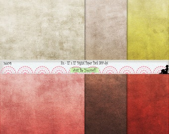 """12 x 12"""" Red Brown Beige Yellow Leather Texture Earthtones Digital Scrapbook Paper Instant Download Set of 6 JPEG Commercial Use 1604"""