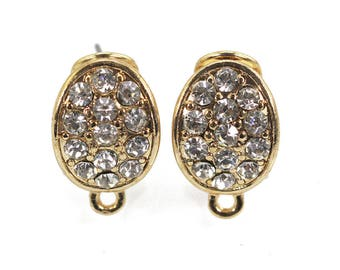 5 Pairs clip earrings, clip earrings findings,Gold plated&silver plated with zircon  ,jewelry making ,jewelry supply