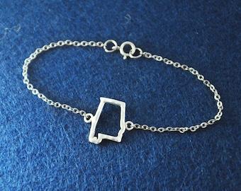 925 Sterling Silver Map Bracelet, Custom Alabama Bracelet, Personalized Map Bracelet, Anniversary Gift, Alabama jewelry,custom map jewelry