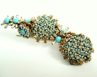 Miriam Haskell Brooch - Turquoise and Crystal