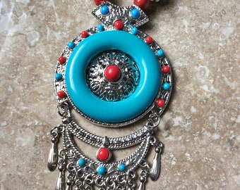Red and Turquoise Blue Tibetan Tribal Necklace, Statement Wood, Acrylic and Metal Necklace