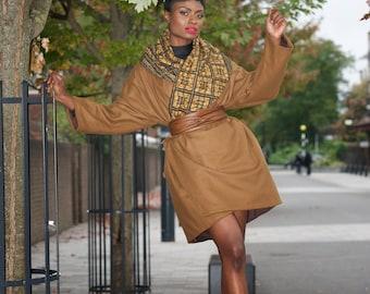 Winter coat / winter jacket/ wool coat/ winter warmer/ ankara coat/ African print jacket/ trench coat - Camel